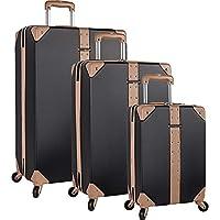 VINCE CAMUTO 3 Piece Hardside Spinner Luggage Suitcase Set, Black (Black) - 3330P01