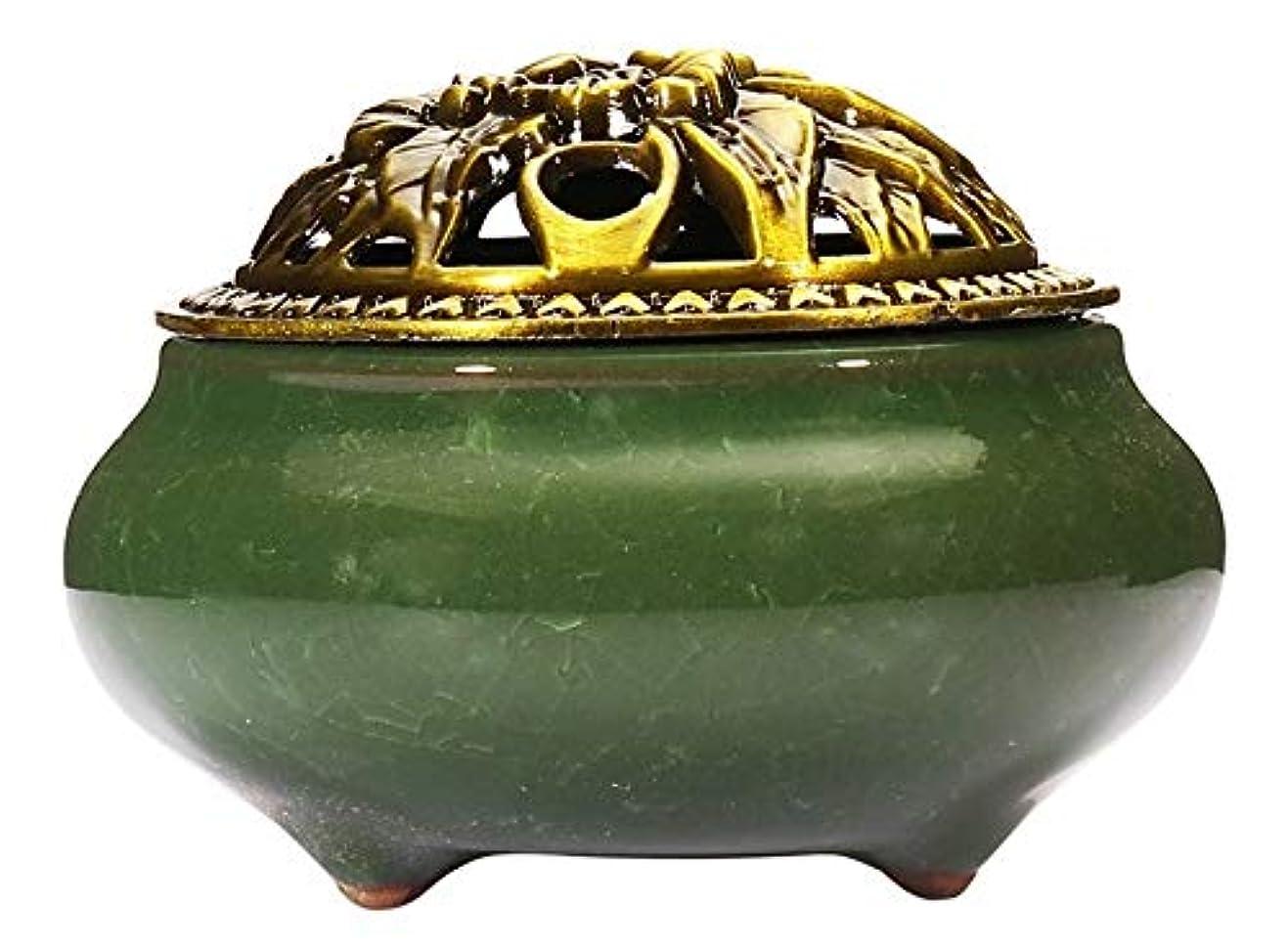 保守的タブレット申請中(Dark Green) - Incense Burner with Brass Incense Stick Holder Ice-Patterned Dark green Handmade Censer by Xujia.