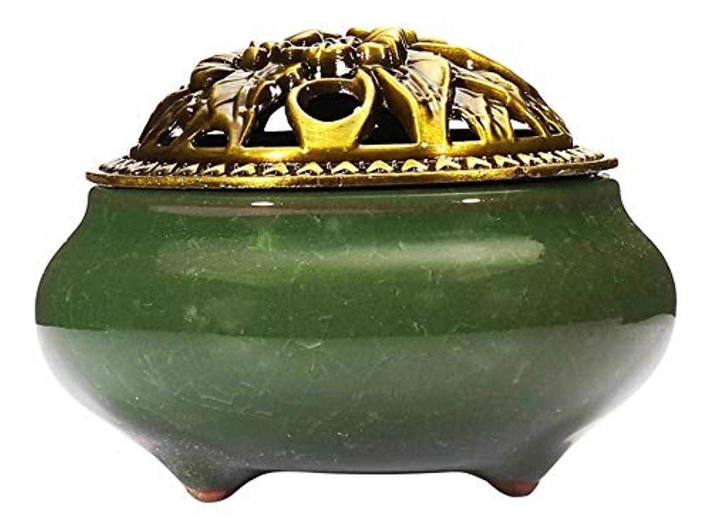 請求宿命満州(Dark Green) - Incense Burner with Brass Incense Stick Holder Ice-Patterned Dark green Handmade Censer by Xujia.
