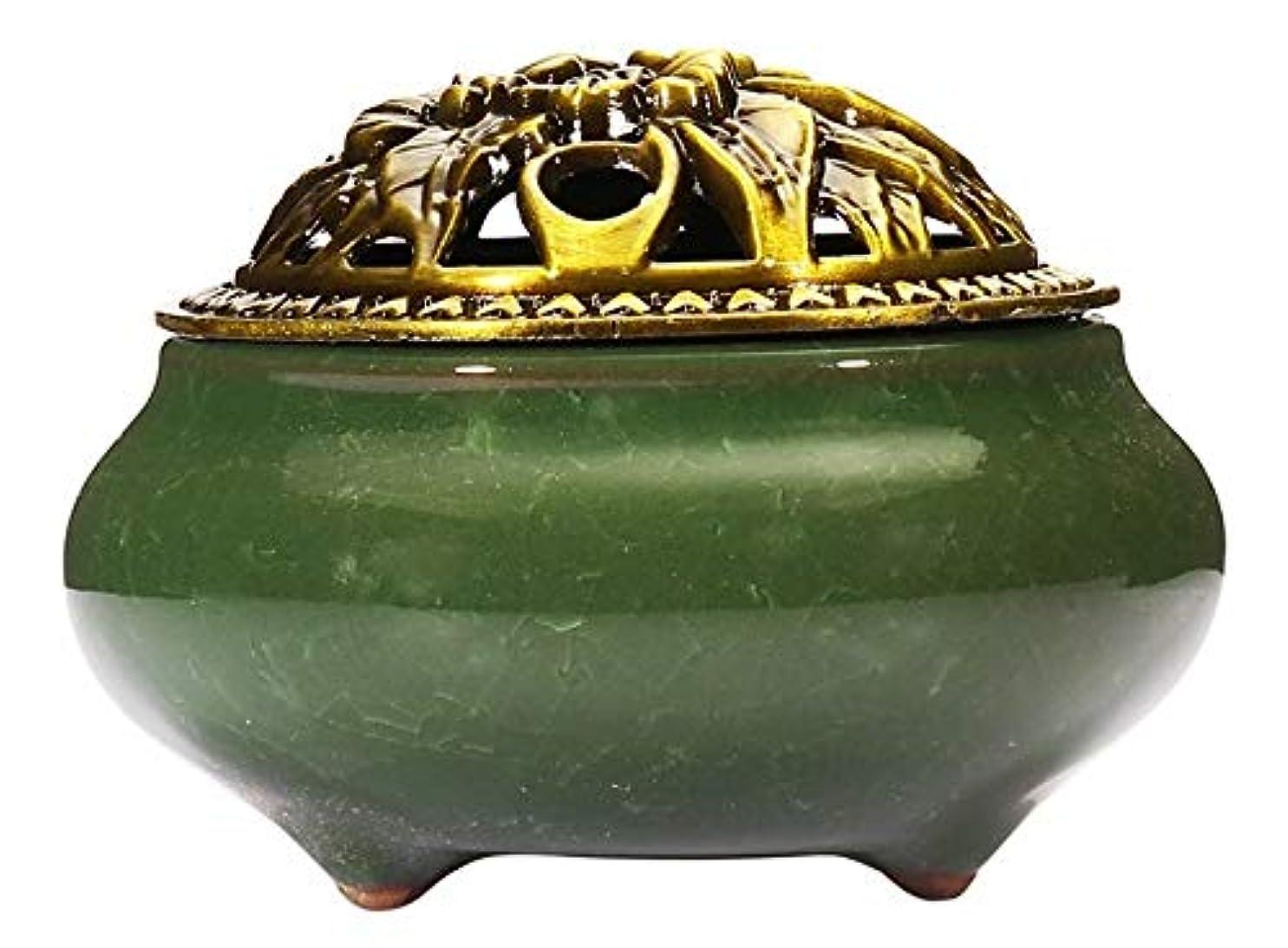 方程式費やす高齢者(Dark Green) - Incense Burner with Brass Incense Stick Holder Ice-Patterned Dark green Handmade Censer by Xujia.