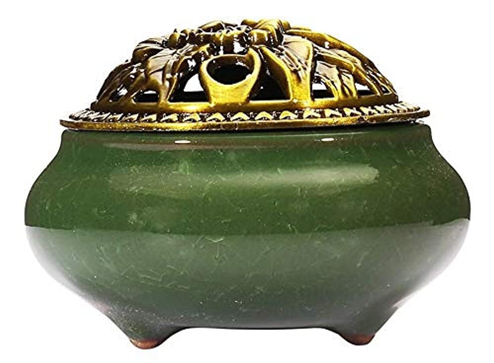 裁判所利用可能服(Dark Green) - Incense Burner with Brass Incense Stick Holder Ice-Patterned Dark green Handmade Censer by Xujia.