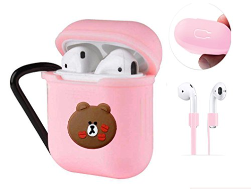 AirPods保護カバー ,AirPods用シリコンケースアンチショックカラビナアンチスリップスポーツストラップ、iPhoneワイヤレスイヤホンケース(pink-ブラウン)