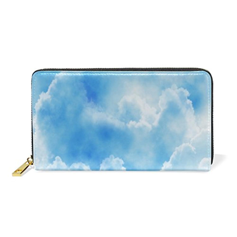 Anmumi 財布 長財布 二つ折り レディーズ puレザー 人気 空 雲 レディース 通勤 通学 おしゃれ 持ちやすい かわいい カード入れ
