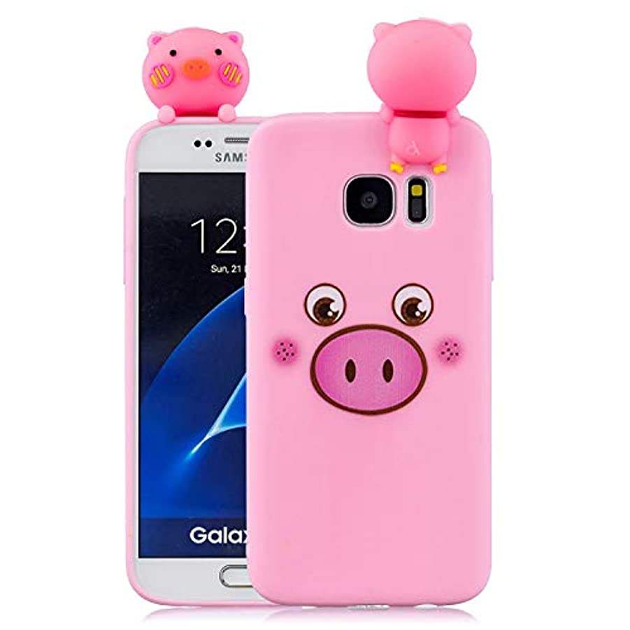 フットボール提出する断言するSamsung Galaxy S7 Edge 対応 可愛い ケース、 Crazylemon ソフト 柔らかい TPU シリコン 恥ずかしい豚 動物 絵柄 同じな 立ち人形 付き ギャラクシーs7edge ピンク ケース 衝撃吸収 全面保護 - 柄09