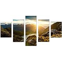 アートフレーム モダン 現代 市の夜 サクラ 風景画 こすゐ 壁の絵 壁掛け ソファの背景絵画 壁アート HD しゃしん5パネルセット(木枠付きの完成品)DC1-100 (14) (フレーム)