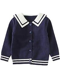 ARABOYO 女の子 カーディガン Vネック 大きい襟 学院風 韓国スタイル セーター ニットウェア 通園 学生 冬(3ヶ月-4歳用)