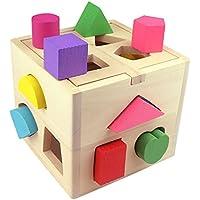 merssavo 3d木製玩具ベビー子供教育木製玩具幼児用パズルゲーム玩具Shape Sorting Cube