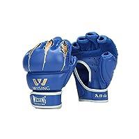 YZT ハーフフィンガーボクシンググローブ、大人の三田武術ボクシンググローブ、テコンドーサンドバッグ、サンドバッグ、グローブ (Color : Blue, Size : 6oz)