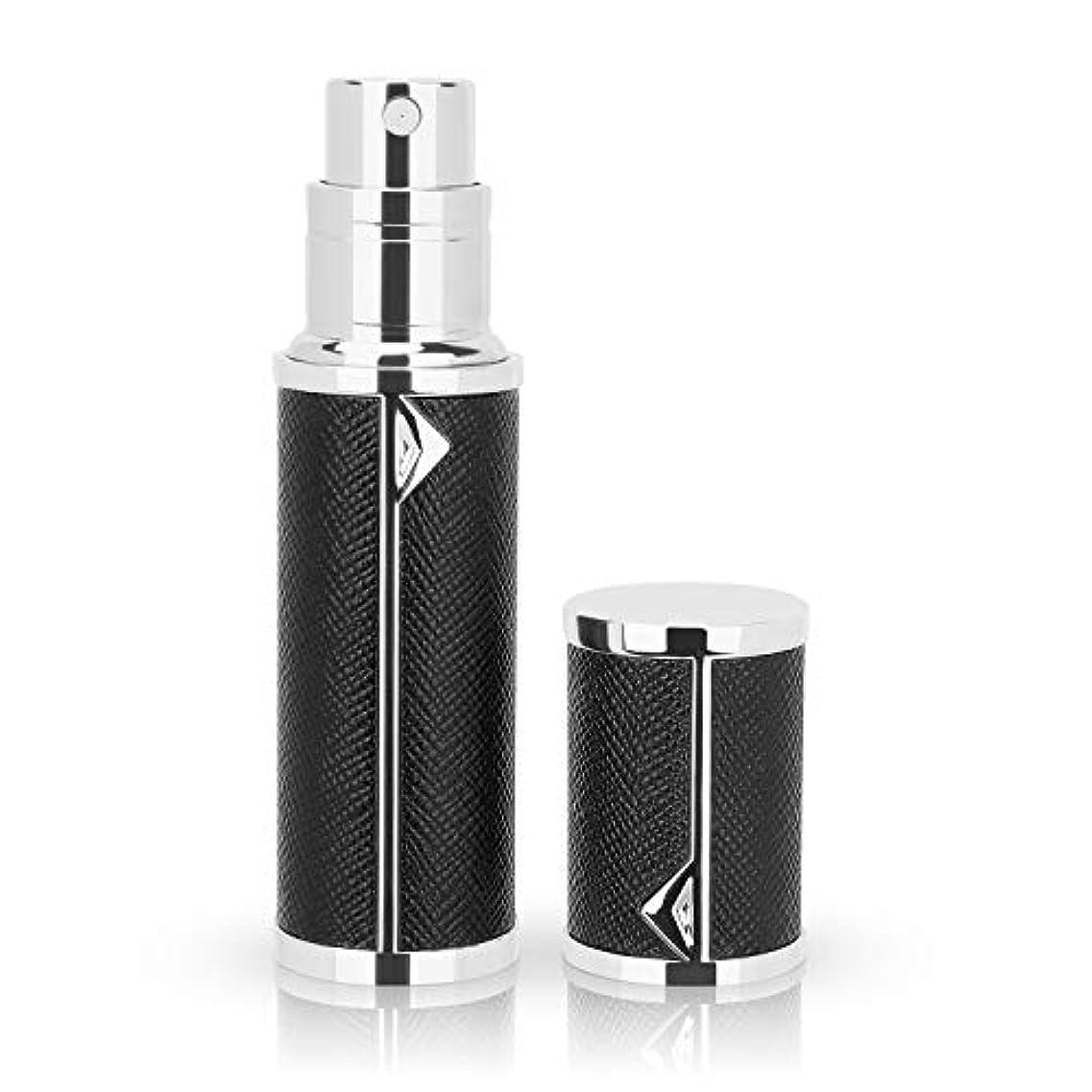 リラックス慢なキウイアトマイザー 香水アトマイザー 詰め替え Louischanzl 香水噴霧器 2-2.5mm径 5ml PUレザー レディース メンズ (黒いBlack)