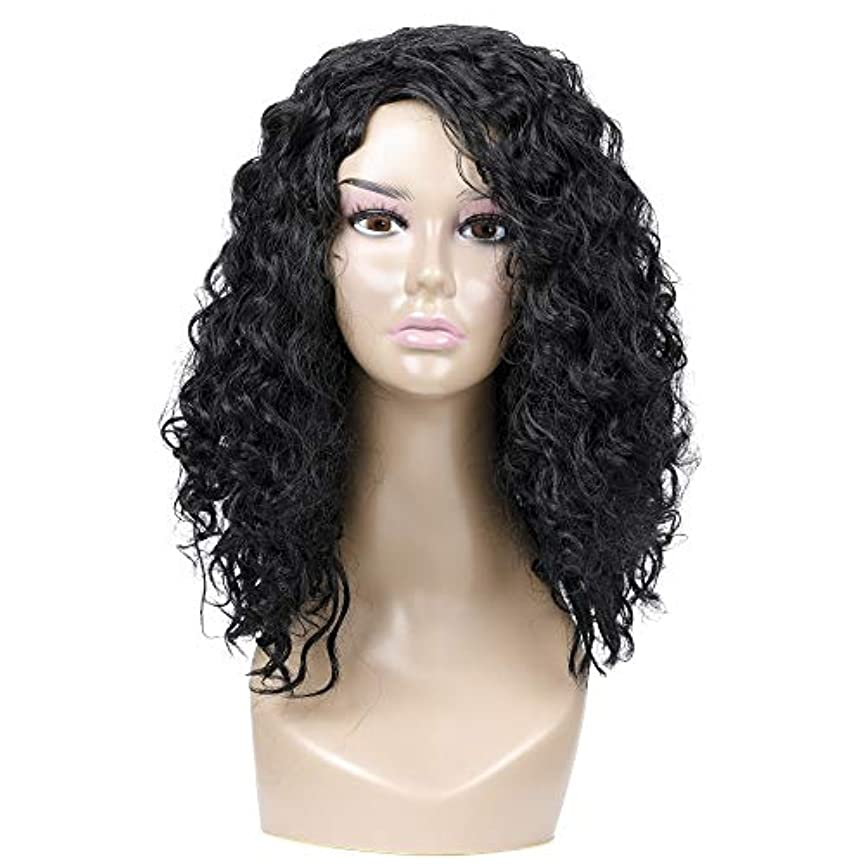 ショルダー自分の内側女性の黒の短い巻き毛のかつら、小さいカールのかつら、自然な人間の毛髪のかつら、耐熱性人工毛交換かつら、ハロウィーンコスプレパーティーコスチュームかつら