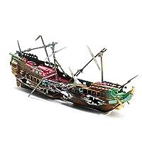 釣り船水族館飾り-壊れた難破船の水槽の風景の装飾
