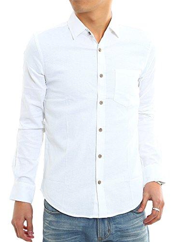 インプローブス 綿麻 シャツ ウッド調ボタン スリム ストレッチ パナマ織りシャツ メンズ A 長袖 ホワイト L サイズ