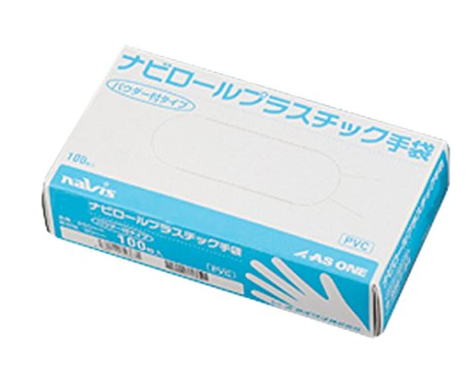 カジュアルテーマインフルエンザアズワン ナビロールプラスチック手袋(パウダー付き) SS 100枚入
