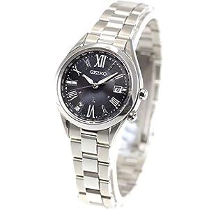 [ルキア]LUKIA 腕時計 LUKIA ソーラー電波 チタンモデル ダイヤ入りブラック文字盤 サファイアガラス プラチナダイヤシールド ワールドタイム機能付 SSQV055 レディース