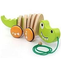 ACHICOO 車おもちゃ 木製 ワニ ドラッグカーのおもちゃ 漫画 動物 ツイスト 子供 ワニのトレーラー
