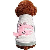 Karchi ペット服 可愛い子犬服 ドッグウェア ワニ印刷 パーカー コスプレ 仮装 人気 おしゃれ 小型犬 子犬春夏服 散歩 お出かけ アウトドア わんちゃん衣装 (L, ピンク)