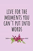 Live For The Moments You Can't Put Into Words: Blank Lined Writing Journal Notebook Diary 6x9