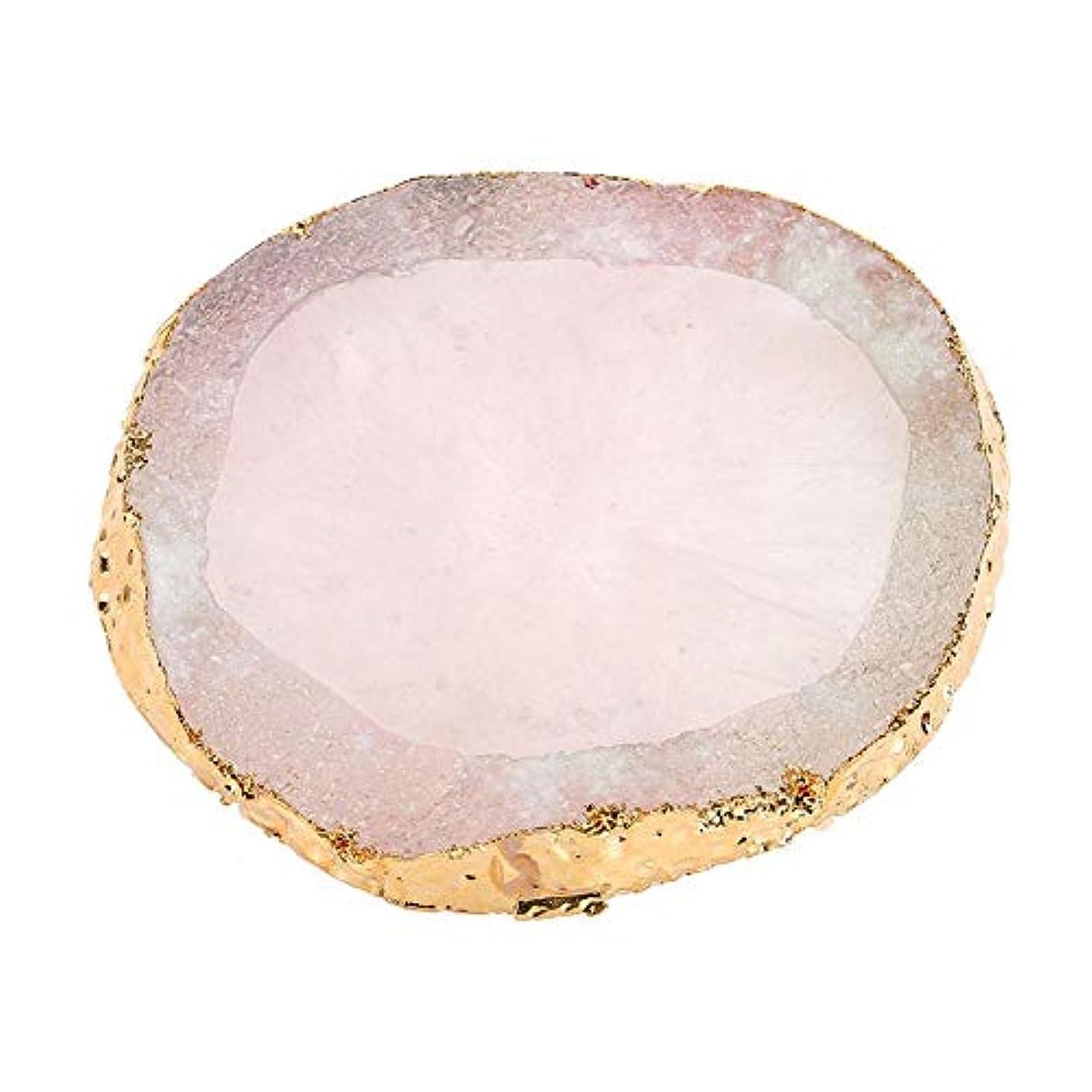 サンダル荒廃する類推ネイルアートパレット、樹脂ペイント描画カラーディッシュゴールデンエッジマニキュアネイルDIYツール(ピンク)
