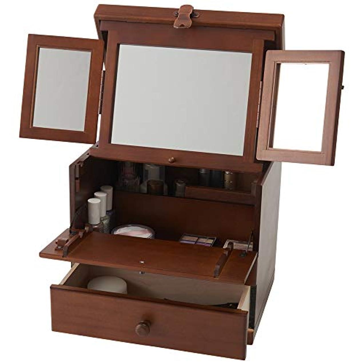 金属つまらない木製コスメボックス 三面鏡 持ち運び 鏡付き 化粧ボックス メイクボックス 日本製