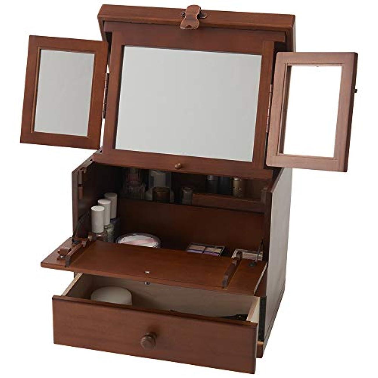 タービン塗抹空中木製コスメボックス 三面鏡 持ち運び 鏡付き 化粧ボックス メイクボックス 日本製