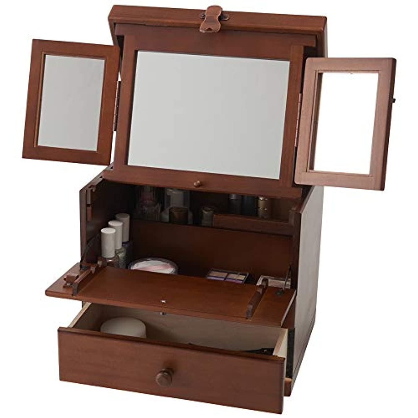 木製コスメボックス 三面鏡 持ち運び 鏡付き 化粧ボックス メイクボックス 日本製