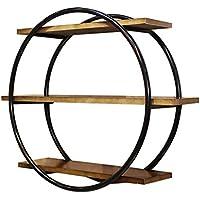 Super Kh® ヴィンテージ木製本棚壁の棚鍛鉄製の本棚の壁の装飾ラウンド表示衣料品店の壁 * (色 : A)