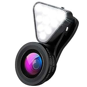 AMIR スマートフォン カメラレンズキット 自撮りレンズ 3点セット (フラッシュライト 0.4X/0.6X広角レンズ 15Xマクロレンズ) 自撮り補助LEDライト 3段階の明るさ調整 クリップ式 スマホ用カメラレンズ for Samsung iphone HTC LG Sony Xperia Huawei Android スマートフォン タプレットなどに対応