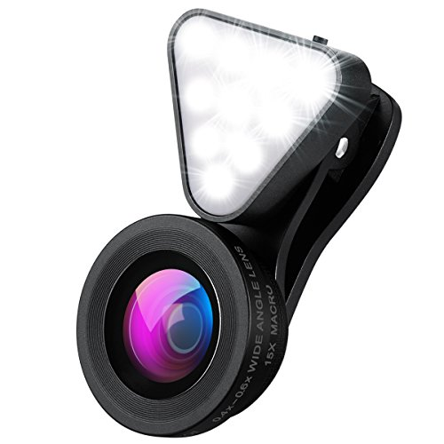 AMIR スマートフォン カメラレンズキット 自撮りレンズ 3点セット ( フラッシュライト 0.4X/0.6X広角レンズ 15Xマクロレンズ) 自撮り補助LEDライト 3段階の明るさ調整 クリップ式 スマホ用カメラレンズ for Samsung iphone HTC LG Sony Xperia Huwei Android スマートフォン タプレットなどに対応
