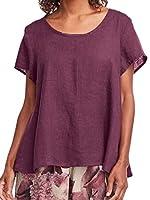 gawaga Women Casual Solid Color Short Sleeve Loose Blouse Tee T-Shirt Purple XS