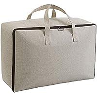 2PCSコットンリネン収納袋ソリッドカラーハイクオリティトラベルオーガナイザーキルト衣類仕上げ荷物収納袋2個セット (色 : ベージュ, サイズ さいず : 60 * 45 * 28cm)