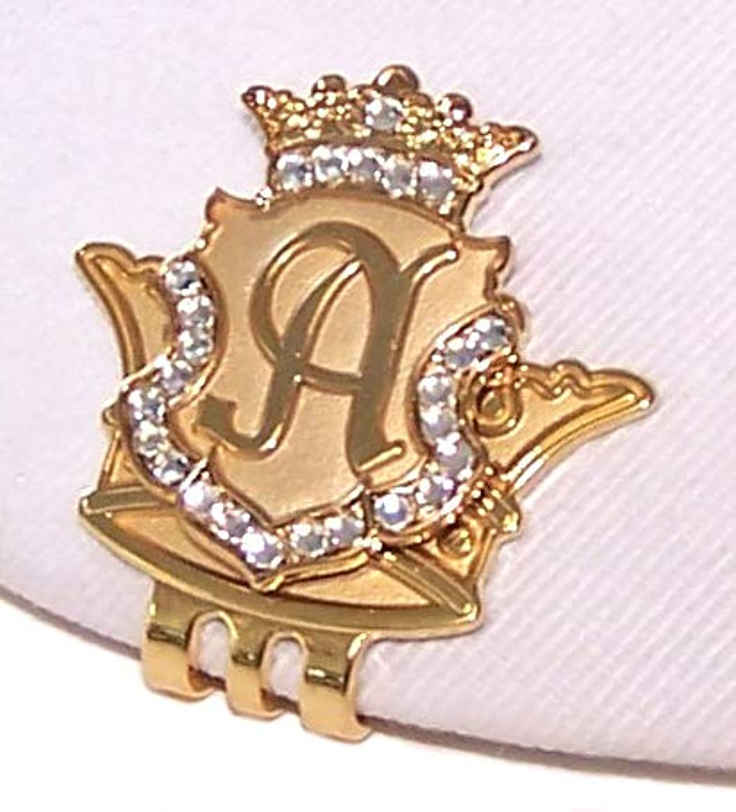 偽空虚時代Royal Initials Crystal Golf Ball Marker & Crown Hat/ Visor Clip - Gold