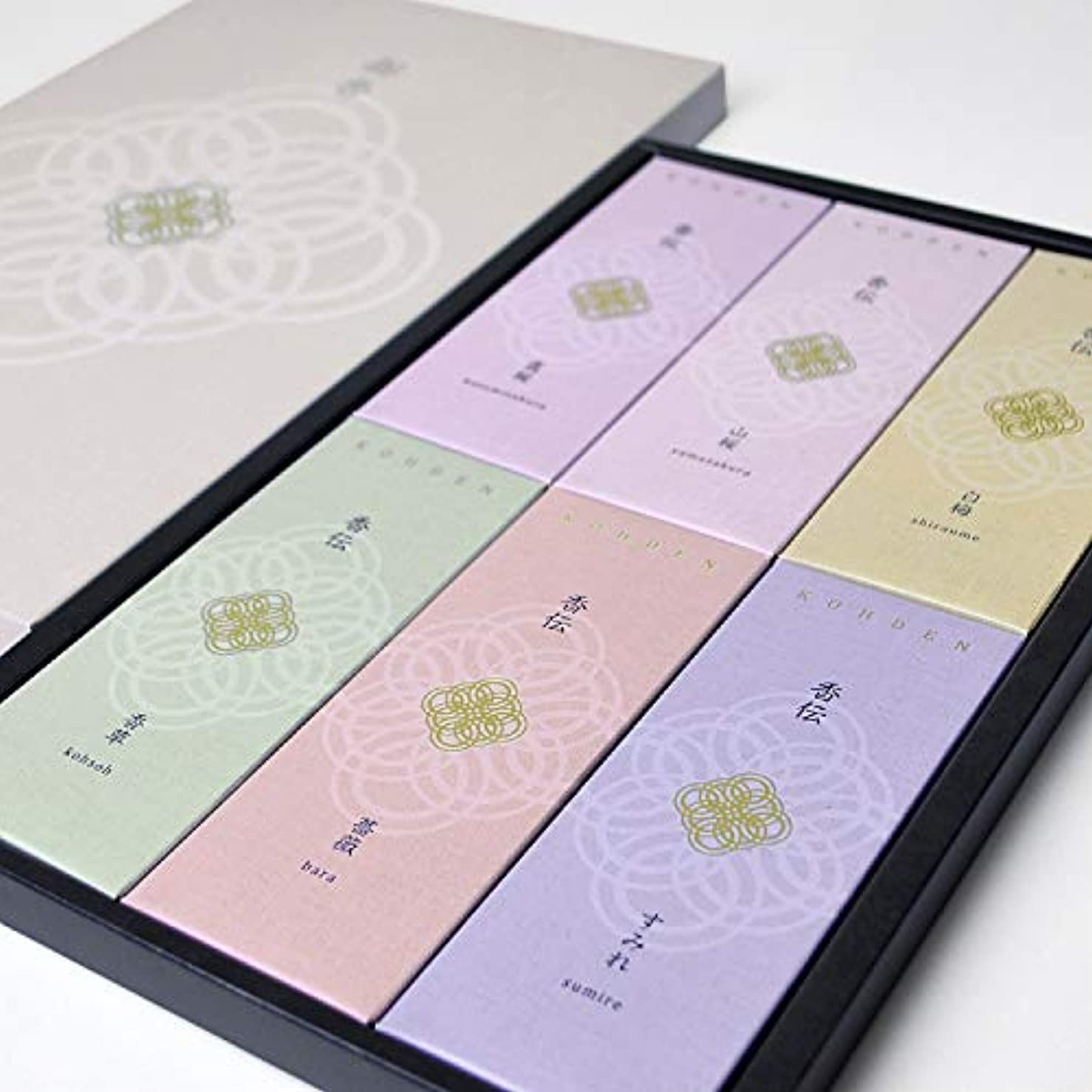 求めるスティーブンソン通信網(ポストに投函できる進物用)日本香堂 香伝 花の香り 線香6種類 1セット