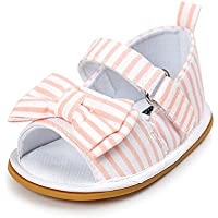 Meckior Baby Girls Premium Soft Rubber Sole Anti-Slip Summer Shoes Infant Baby Prewalker Toddler Sandals. (13cm(12-18months), H-Pink)