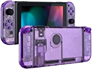 eXtremeRate Clear Atomic Purple Back Plate for Nintendo Switch Console, NS Joycon Handheld Controller Housing