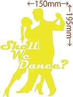 カッティングステッカー Shall We Danse? (ダンス)・1 約150mm×約195mm イエロー 黄