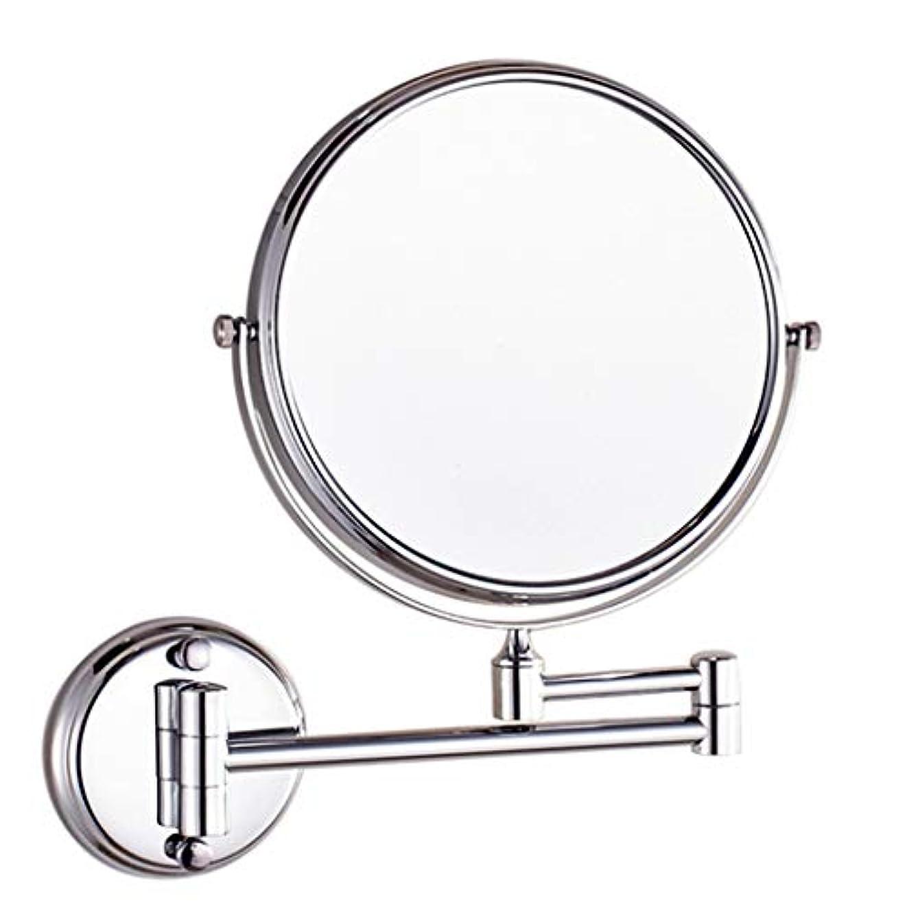結核噂残基HUYYA シェービングミラー バスルームメイクアップミラー 壁付、バニティミラーラウンド3 倍拡大鏡 両面 化粧鏡 寝室や浴室に適しています,Silver_6inch