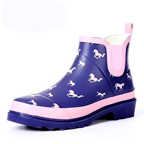 (Wansi) レディース ショート レイン ブーツ シューズ レインブーツ 雨靴 長靴 長ぐつ 梅雨対策 滑り止め レインシューズ レイングッズ ビジネス アウトドア おしゃれ 雨靴 ブルー 24cm