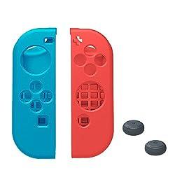 TopACE Nintendo Switch Joy-Con 専用ケース 高品質 超薄型 超耐磨 最軽量 ソフトケース (R) ネオンレッド  (L) ネオンブルー