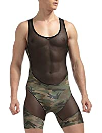 maweisong 迷彩メッシュボディスーツの男性ボクサーブリーフの下着?ジャンプスーツ?シャツ