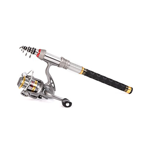 (2.1M/6.89FT) - Lixada Spinning Rod and Reel Combos Carbon Fibre Telescopic Fishing Pole and Spinning Fishing Reel Gear Full Kit