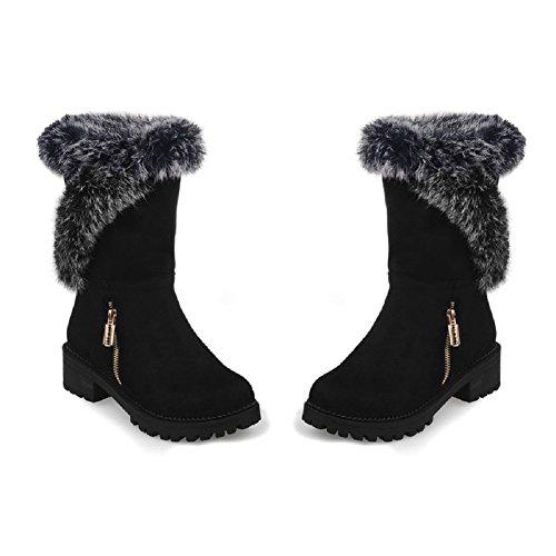 Aneberyウィメンズタイプブーツミニオシャレゆったり暖か防寒ショートブーツ(36,ブラック)