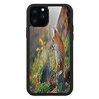 iPhone 11 Pro Max 用 強化ガラスケース クリア 薄型 耐衝撃 黒 カバーケース フォックス 森の野生生物捕食者の話を聞いている若いアカギツネ ペールブラウンホワイトグリーン iPhone 11 Pro 2019用 iPhone11 Pro Maxケース用