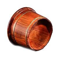 樟脳の木製フットバケツ、ふた付き木製フットバスバレル、フットマッサージウッドベイスン(カラー:マッサージなしシングルバレル)