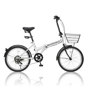 RayChell(レイチェル) 折りたたみ自転車  20インチ R-241N シマノ6段変速 ノーパンクタイヤ キャリパーブレーキ/バンドブレーキ/グリップシフト/フェンダー/ベル/ワイヤーバスケット/コイルワイヤロック/LEDライト標準装備 シルバー