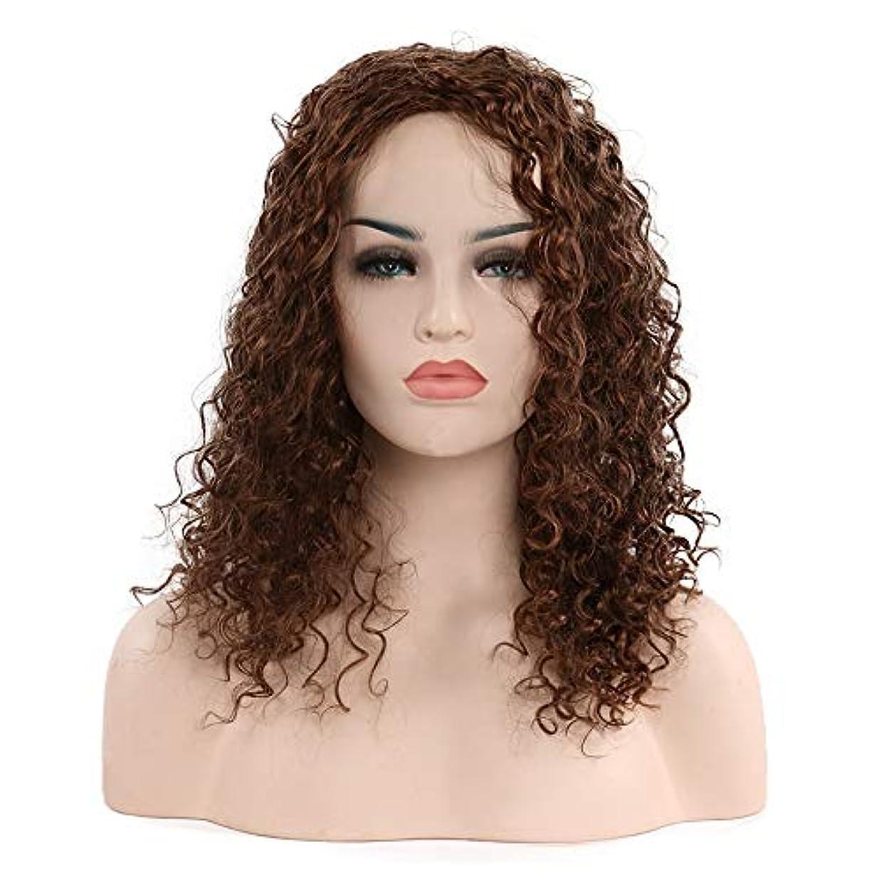 ラフトきょうだい閲覧する女性の短い巻き毛のかつら20インチ、小さなカールのかつら、自然な人間の髪の毛のかつら、耐熱性人工毛交換かつら、ハロウィーンコスプレパーティー衣装ウィッグ (Color : Brown)