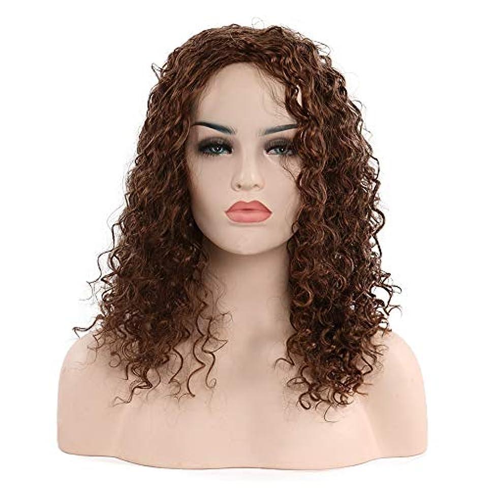 勇敢なトラクターロバ女性の短い巻き毛のかつら20インチ、小さなカールのかつら、自然な人間の髪の毛のかつら、耐熱性人工毛交換かつら、ハロウィーンコスプレパーティー衣装ウィッグ (Color : Brown)