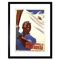 Travel Winter Alpine Sport Skiing Val D'aosta Snow Italy Framed Wall Art Print 旅行冬高山スポーツスキー雪イタリア壁