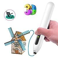 3Dプリントペン立体絵画用立体印刷クリエイティブクラフトペンインテリジェントデッサンモデリング安全で便利な3次元知的開発,White,500mAh