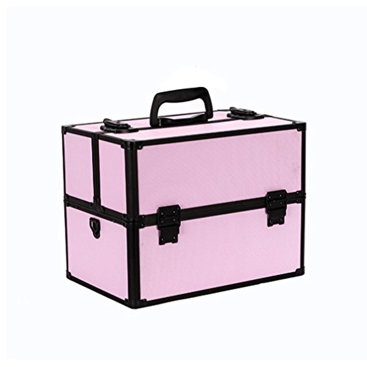 合意ウナギストレッチ{ツネユウ}プロ用 メイクボックス 高品質 多機能 大容量 メイクブラシバッグ 収納ケース ネイルボックス 化粧 取っ手付 バニティボックス 化粧道具 小物入れ ブラック ピンク
