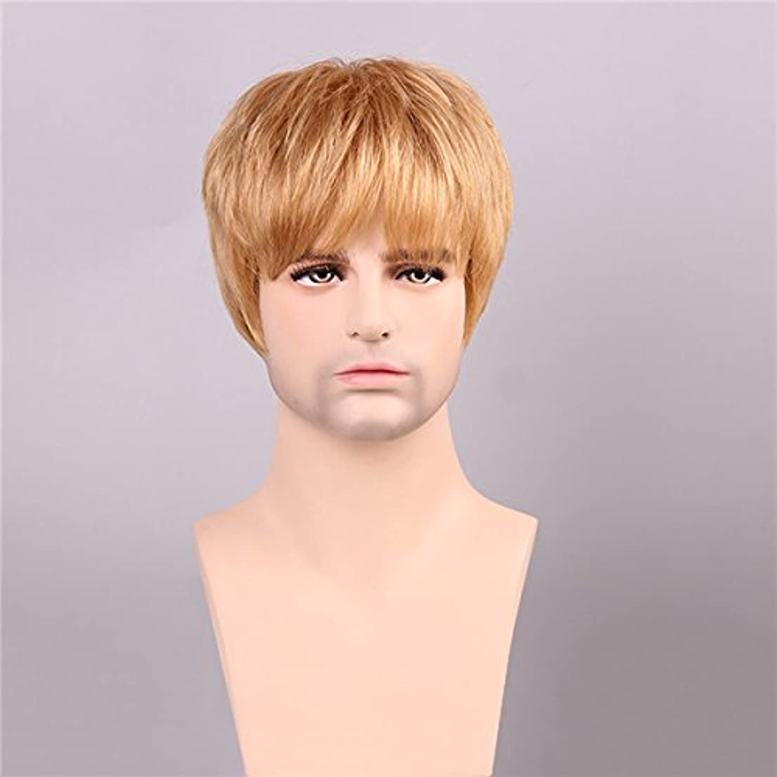 ピューしてはいけないケーブルカーYZUEYT 男性の人間の髪のウィッグゴールデンブラウンブロンドショートモノラルトップ男性男性レミーCapless YZUEYT (Size : One size)